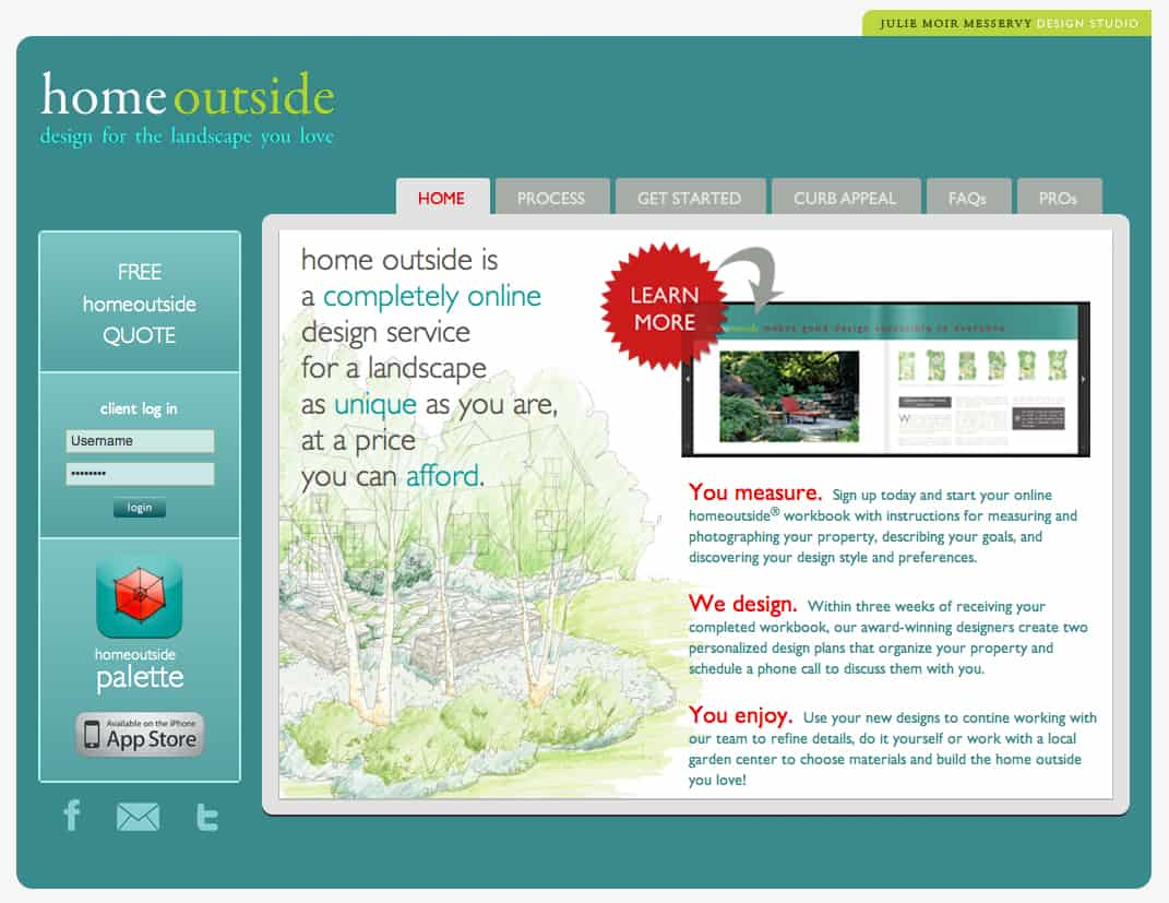 Homeoutside home page for Home outside design app