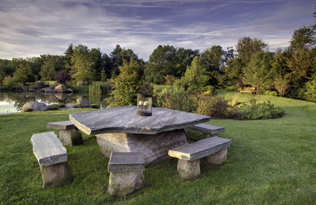 JMMDS Vermont Pond, stone table by Ron Brown, photo by Bill Sumner