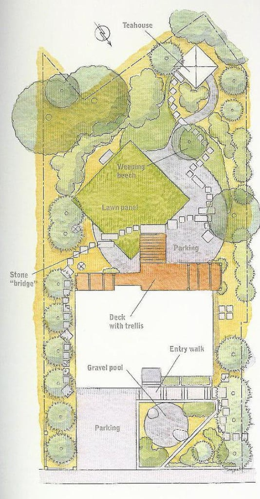 Japanese Journey, site plan, design by JMMDS, created for the Taunton book Home Outside.