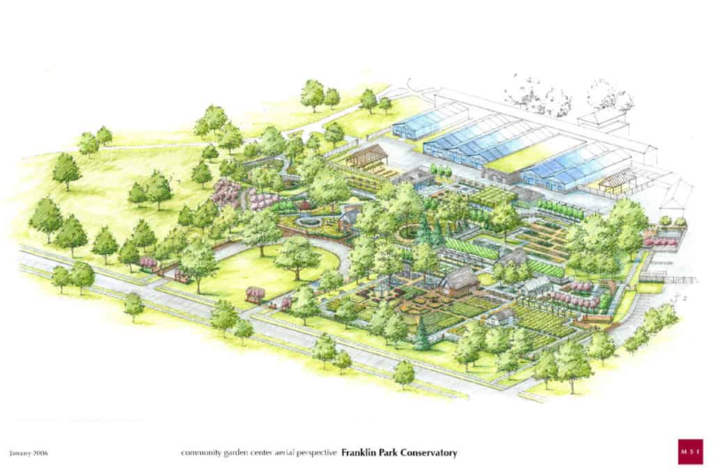 Franklin Park Conservatory Aerial perspective by MSI design by JMMDS and MSI