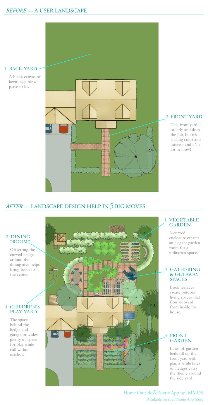 Palette landscape design app 'Ask an Expert' before & after