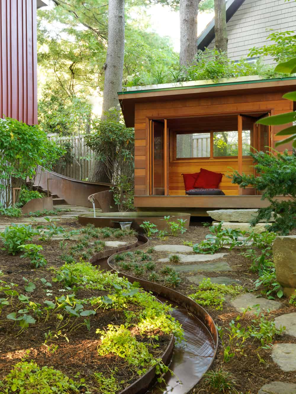 Pool, rill, and meditation hut. Landscape design by JMMDS, Photograph by Susan Teare
