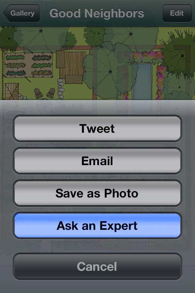 Ask an Expert screen capture from Home Outside Palette app