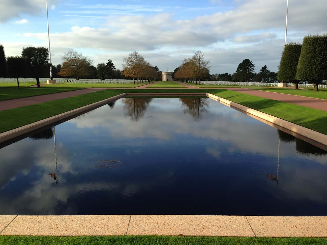 The reflecting pool at the Normandy Memorial