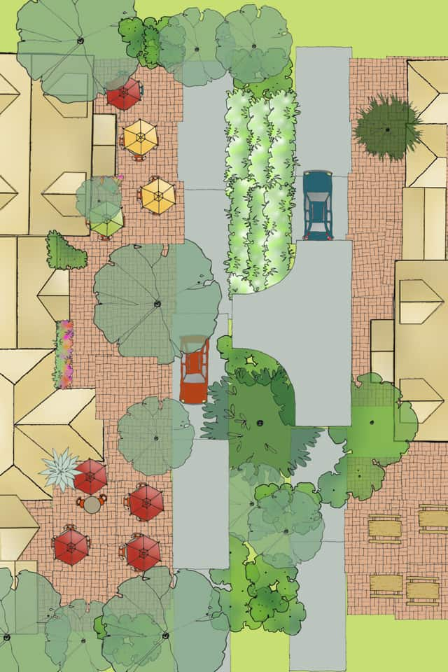 Main Street USA: landscape design created with the Home Outside Palette app