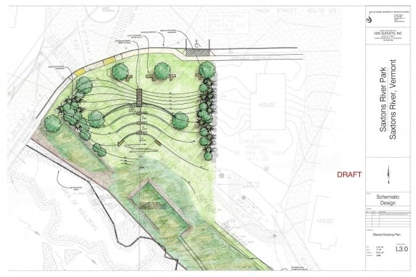Draft design for Saxtons River Park by JMMDS
