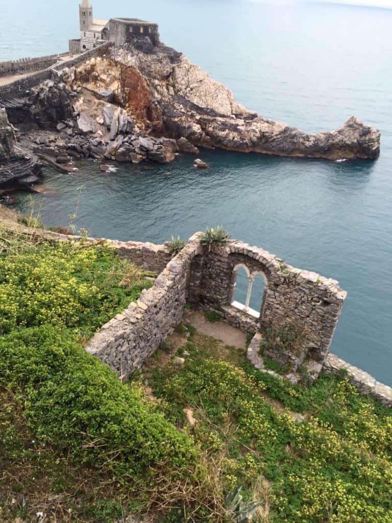 ruins of walled garden at Porto Venere