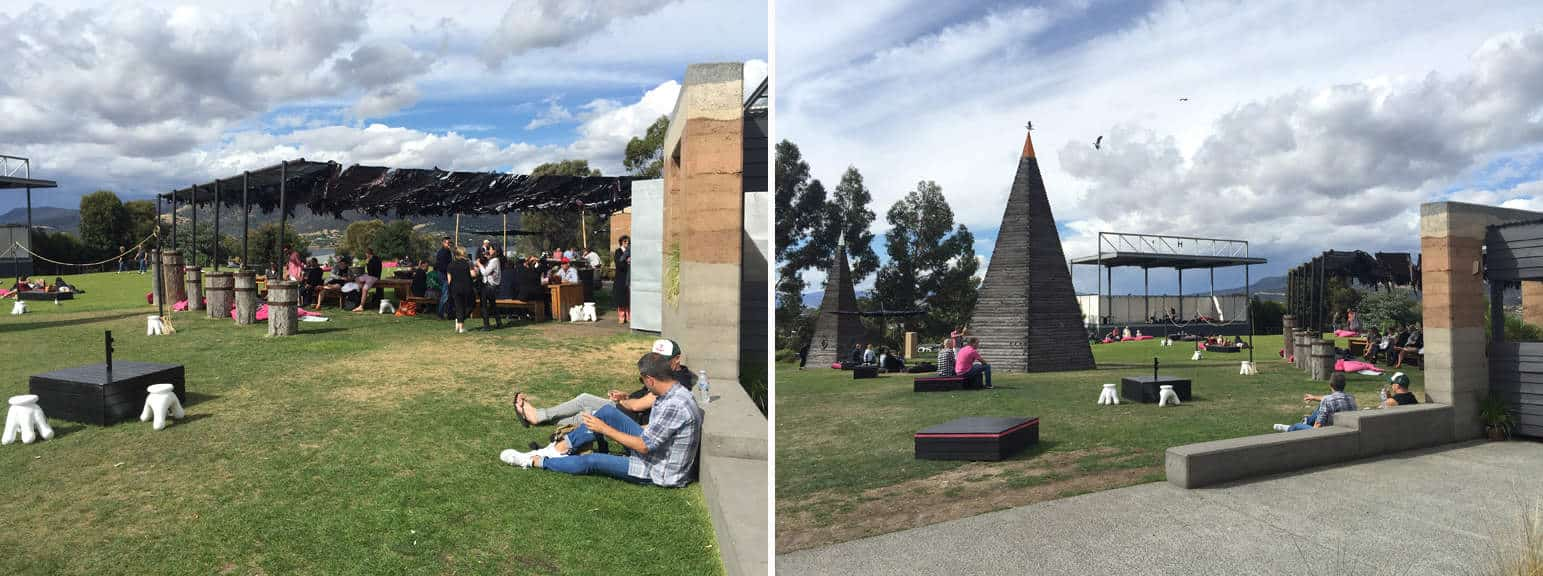 people enjoying MONA museum grounds